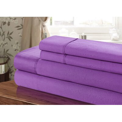 300 Thread Count 100% Egyptian-Quality Cotton Sheet Set Color: Purple