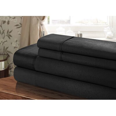 300 Thread Count 100% Egyptian-Quality Cotton Sheet Set Color: Black