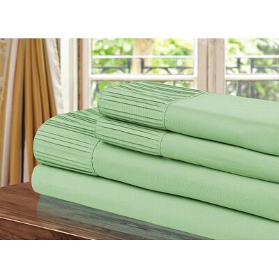 Pleated Sheet Set Size: Twin, Color: Sage