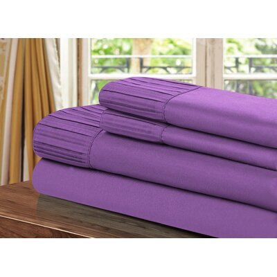 Pleated Sheet Set Size: Queen, Color: Purple