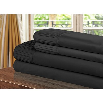Pleated Sheet Set Size: King, Color: Black