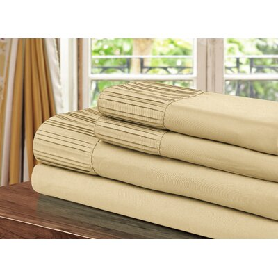 Pleated Sheet Set Size: King, Color: Gold