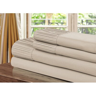 Pleated Sheet Set Size: Twin, Color: Taupe