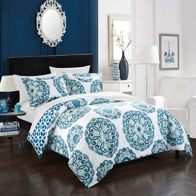 Ibiza Reversible Duvet Cover Set Size: Twin, Color: Blue