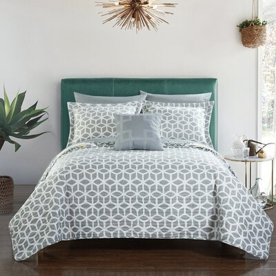 Madrid Reversible Quilt Set Size: King, Color: Gray