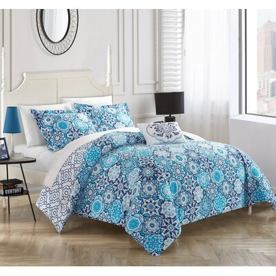 Arlo 4 Piece Reversible Duvet Set Size: King, Color: Blue