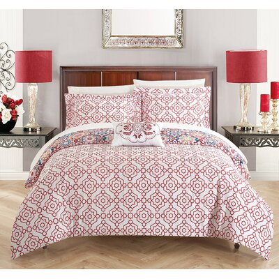 Aspen 4 Piece Reversible Quilt Set Size: King, Color: Pink