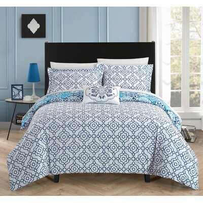Aspen 4 Piece Reversible Quilt Set Size: Queen, Color: Blue