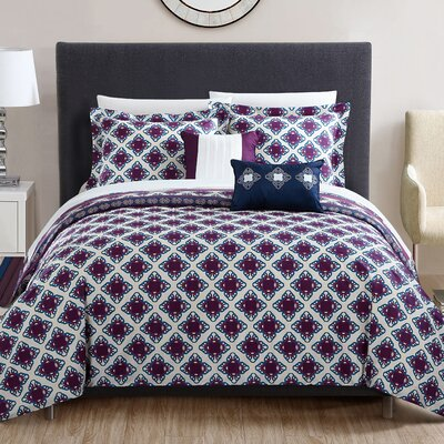 Raphael 4 Piece Reversible Duvet Set Size: Queen