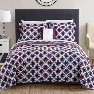 Kathaleen 4 Piece Reversible Quilt Set Size: King