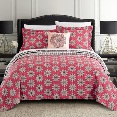 Gerard 4 Piece Reversible Quilt Set Size: Queen