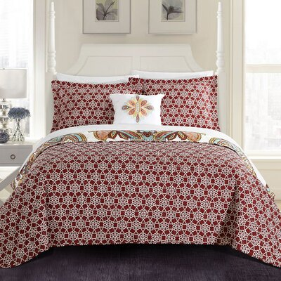 Hayward 4 Piece Reversible Quilt Set Size: King