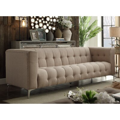Sandi Linen Biscuit Tufted Silvertone Y-leg Sofa Upholstery: Stone