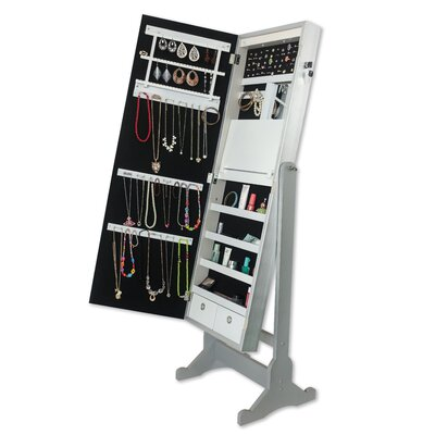 Brechin Free standing Jewelry Armoire with Mirror Color: Classic Silver