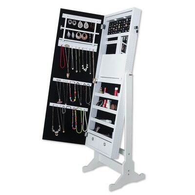Brechin Free standing Jewelry Armoire with Mirror Finish: Pristine White