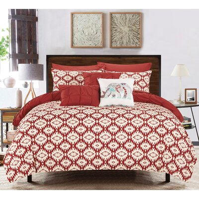 Huber 4 Piece Reversible Comforter Set Color: Brick Red