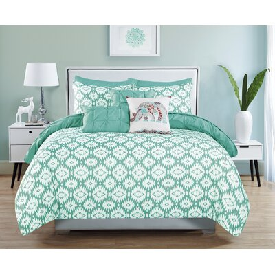 Huber 10 Piece Reversible Aqua Comforter Set Size: King