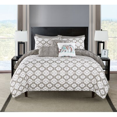 Huber 10 Piece Reversible Comforter Set Color: Gray, Size: Queen