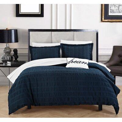 Anwar 100% Cotton 4 Piece Duvet Cover Set Size: Queen, Color: Navy