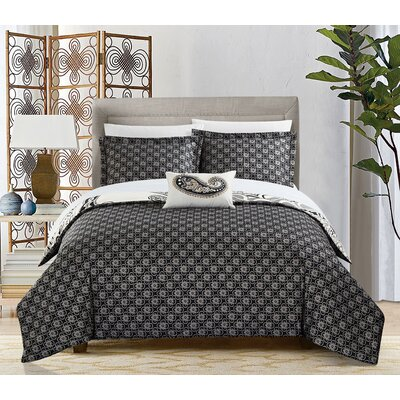 Tamara 4 Piece Reversible Duvet Cover Set