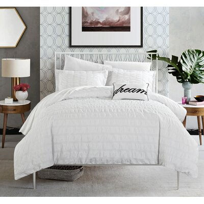 Anwar 100% Cotton 4 Piece Duvet Cover Set Size: Queen, Color: White
