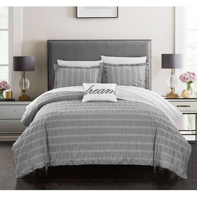 Anwar 100% Cotton 4 Piece Duvet Cover Set Size: Queen, Color: Gray