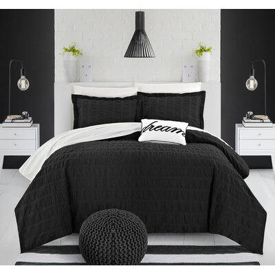 Anwar 100% Cotton 4 Piece Duvet Cover Set Size: King, Color: Black