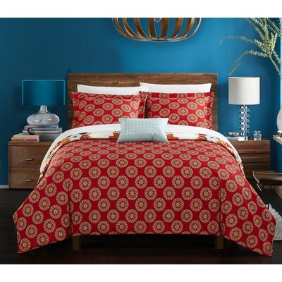 Charmell 8 Piece Reversible Duvet Set Size: Queen