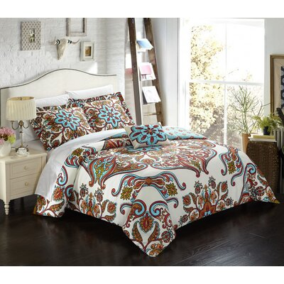 Charrington Polyester 4 Piece Reversible Duvet Cover Set Size: Queen