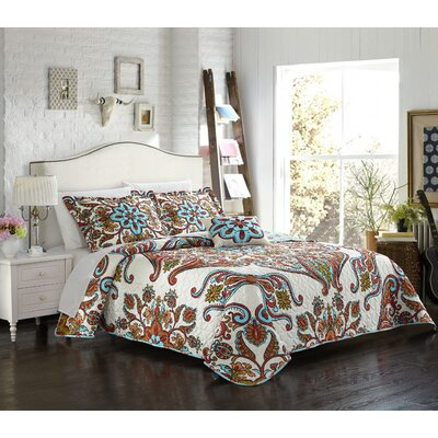 Charlesville 4 Piece Reversible Quilt Set Size: King
