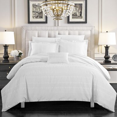 Colchester White 100% Cotton 4 Piece Duvet Set Size: Queen