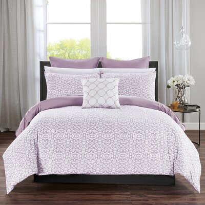 Barre 7 Piece Reversible Comforter Set Color: Lavender