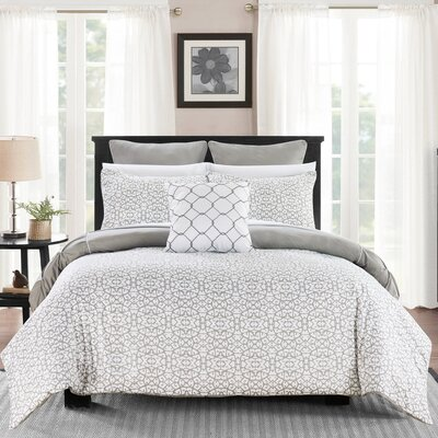 Barre 7 Piece Reversible Comforter Set Color: Gray