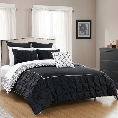 Barre 7 Piece Reversible Comforter Set Color: Black