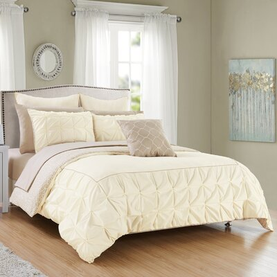 Barre 10 Piece Reversible Comforter Set Color: Beige, Size: Queen
