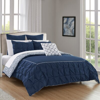 Barre 10 Piece Reversible Comforter Set Color: Navy, Size: Queen