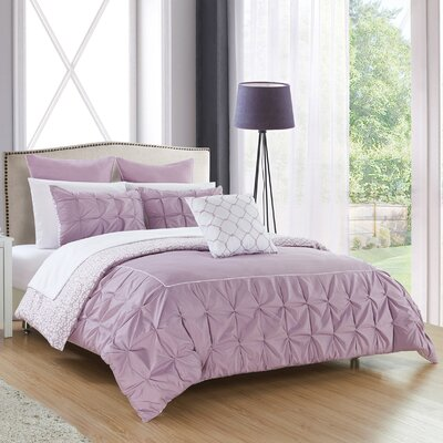 Barre 10 Piece Reversible Comforter Set Color: Lavender, Size: King
