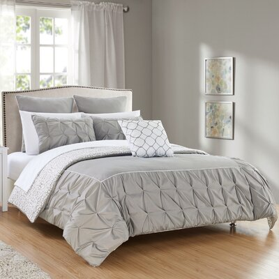 Barre 10 Piece Reversible Comforter Set Color: Gray, Size: King