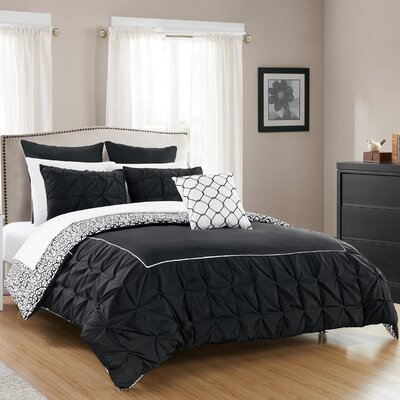 Barre 10 Piece Reversible Comforter Set Color: Black, Size: Queen