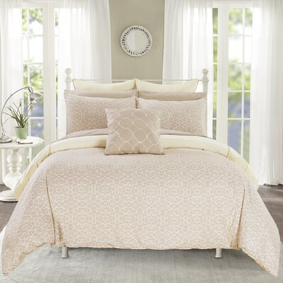 Barre 7 Piece Reversible Comforter Set Color: Beige
