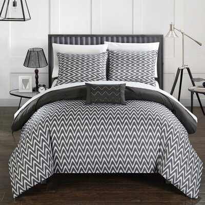Jacky Comforter Set Size: Queen, Color: Gray