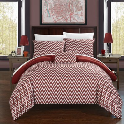 Jacky Comforter Set Size: King, Color: Brick