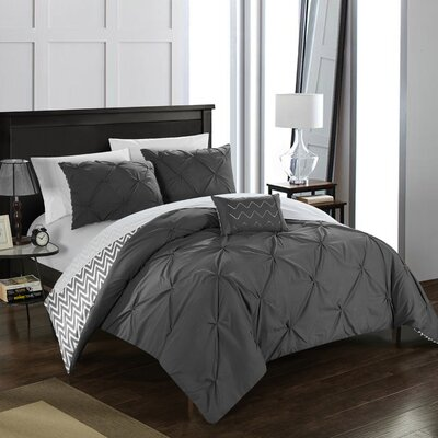 Jacky 8 Piece Comforter Set Size: King, Color: Gray