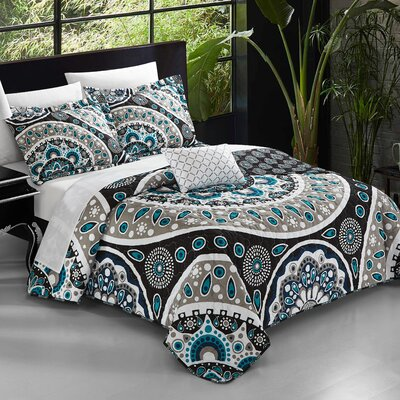 Chevalier 8 Piece Reversible Duvet Set Size: King