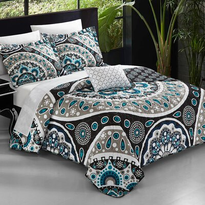 Chevalier 4 Piece Reversible Duvet Set Size: King