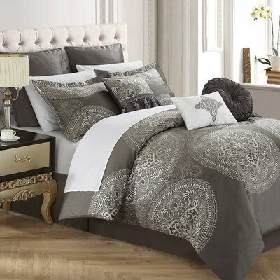 Frost 13 Piece Reversible Bed in a Bag Set Color: Gray, Size: King