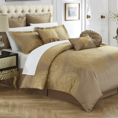 Frost 13 Piece Reversible Bed in a Bag Set Color: Gold, Size: King