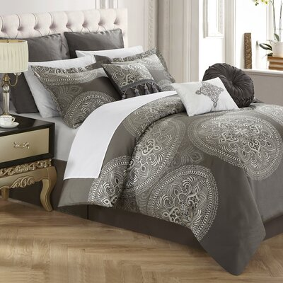 Frost 9 Piece Reversible Bed in a Bag Set Color: Gray, Size: Queen