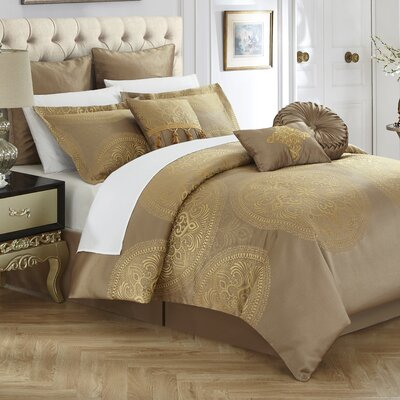 Frost 9 Piece Reversible Bed in a Bag Set Color: Gold, Size: King