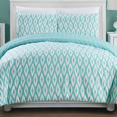 Cherree 2 Piece Reversible Comforter Set Color: Aqua